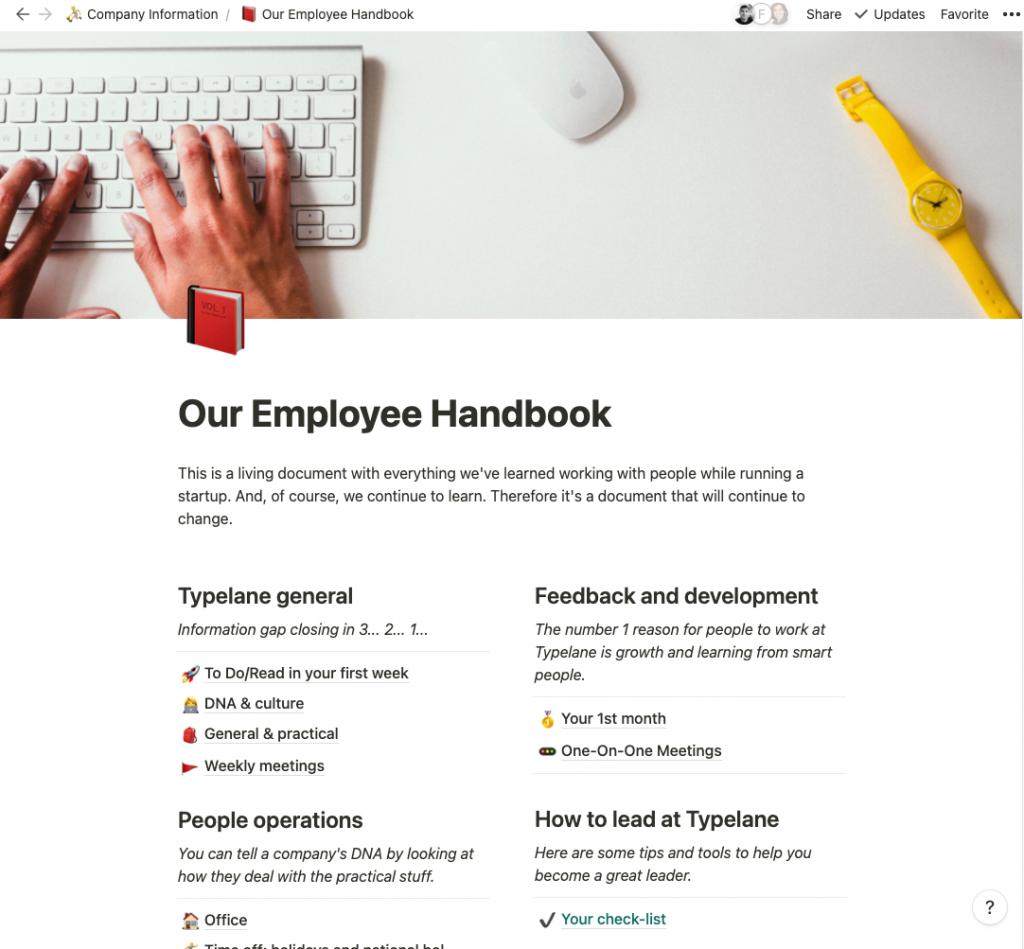 Typelane employee handbook